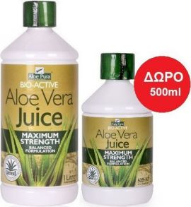 Optima Aloe Pura Aloe Vera Juice Maximum Strength 100% Φυσικός Χυμός Αλόης,1000ml & ΔΩΡΟ Aloe Vera Juice Maximum Strengt, 500 ml