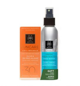 Apivita Suncare Anti-Wrinkle Light Texture Face Cream SPF30 50ml & Greek Mountain Tea Face Water 100ml