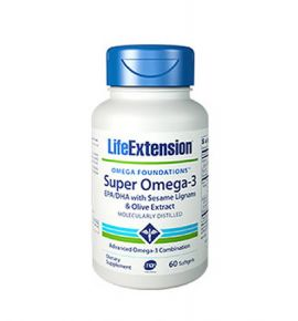 Life Extension Super Omega-3 EPA/DHA with Sesame Lignans & Olive Extract 60 softgels