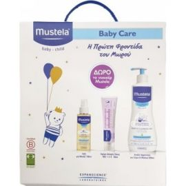 Mustela Baby Daily Care Pack με Gentle Cleansing Gel 500ml & Bebe Huile de Massage , 100ml & Vitamin Barrier Creme 50ml & ΔΩΡΟ νεσεσέρ Mustela