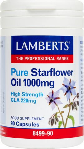 Lamberts Pure Starflower Oil 1000mg (High GLA 220mg) 90 caps (Ω6)