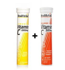 Health Aid Vitamin C 1000mg Λεμόνι 20 tabs+Vitamin C 500mg Πορτοκάλι 20 tabs