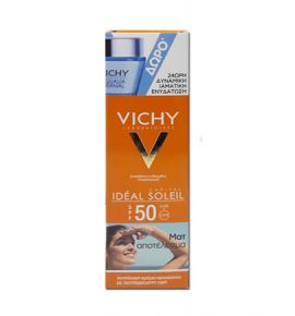 Vichy Ideal Soleil Mattifying Face Fluid Dry Touch SPF50 50ml + Aqualia Thermal 15ml